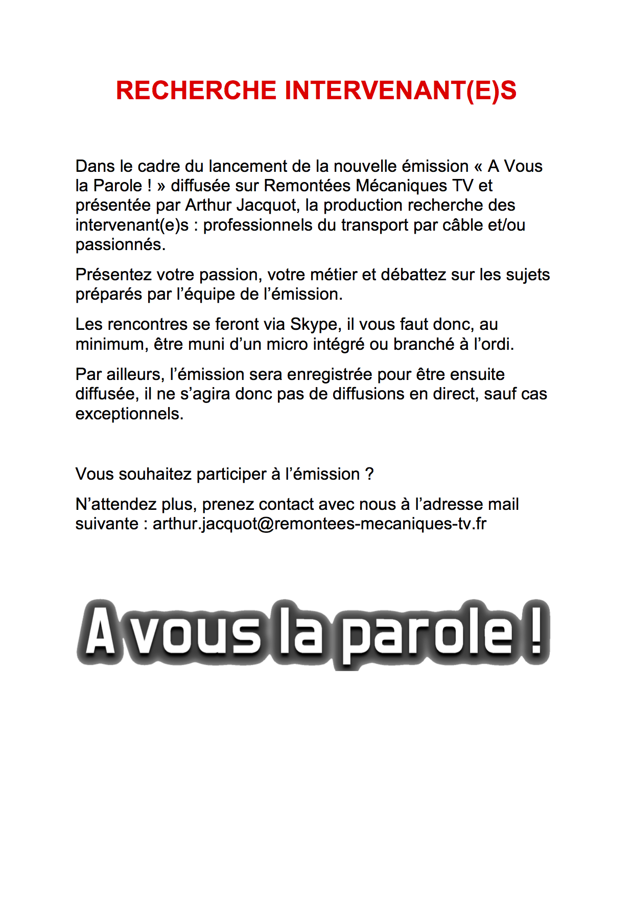 Participez à l'émission